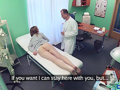 Hot patient Luca Bella strips and turns on her doctor who fucks her