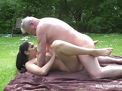 This hot young and old adventure comes to an end when he cums primarily her tits