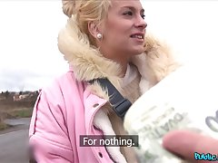 Blode Czech girl takes money to atom her tittes and perfect ass