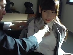 Sensuous Asian office girl gets fondled then fucked by her boss