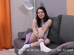Russian 19 yo girl Glasha Belkina shows her fresh pussy closeup